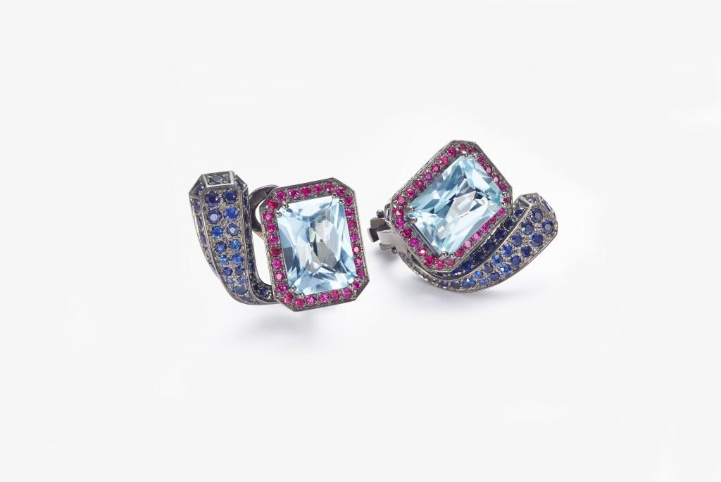 Mattioli gioielli Orecchini in oro nero topazio azzurro zaffiri blu e rubini