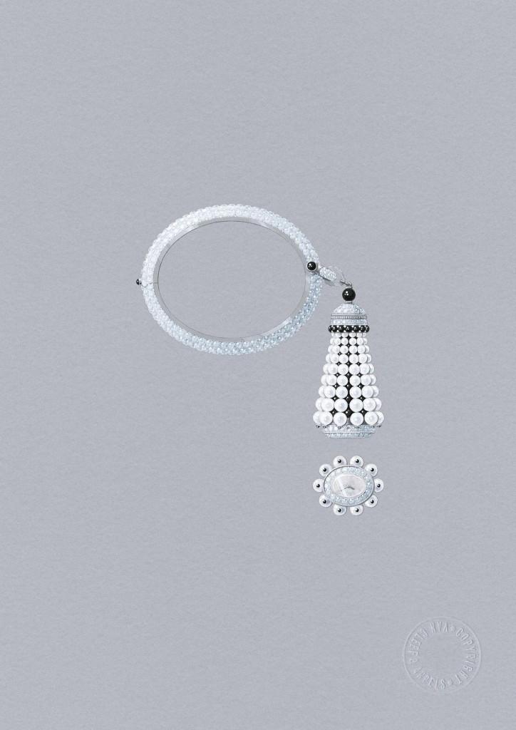 SIHH 2016 - Van Ceef & Arpels - Collana lunga trasformabile con orologio amovibile Pompon. Oro bianco, brillanti, spinelli neri, onice, perle bianche coltivate, madreperla bianca, movimento al quarzo, pezzo unico.