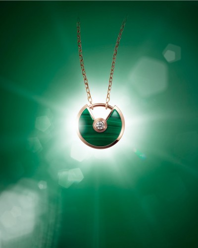 Amulette de Cartier Pendant    Extra-small Model Pink gold, malachite, a diamond, chain in pink gold