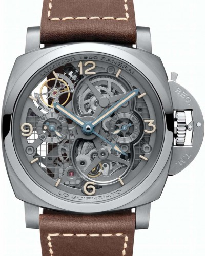LO SCIENZIATO LUMINOR 1950 TOURBILLON GMT TITANIO – 47mm fronte