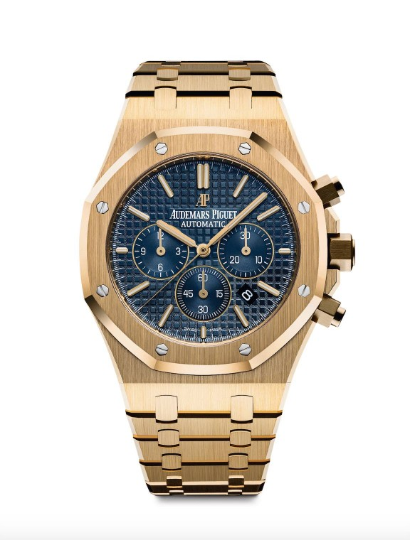 Audemars Piguet, Royal Oak Cronografo in oro giallo, quadrante blu grand tapisserie