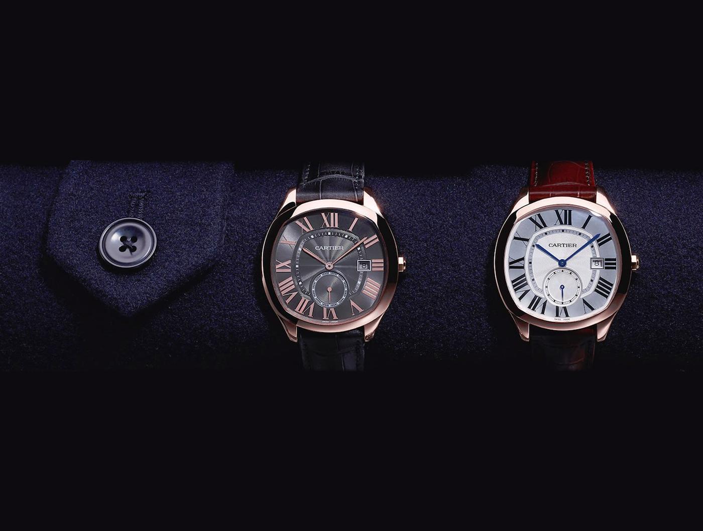due modelli di orologi Cartier su manica maschile a pitti uomo firenze