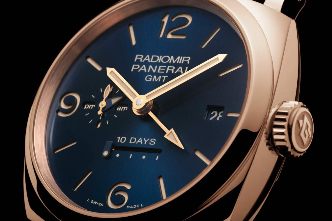 Radiomir 1940 10 Days GMT Automatic Oro Rosso Officine Panerai Blue Dial