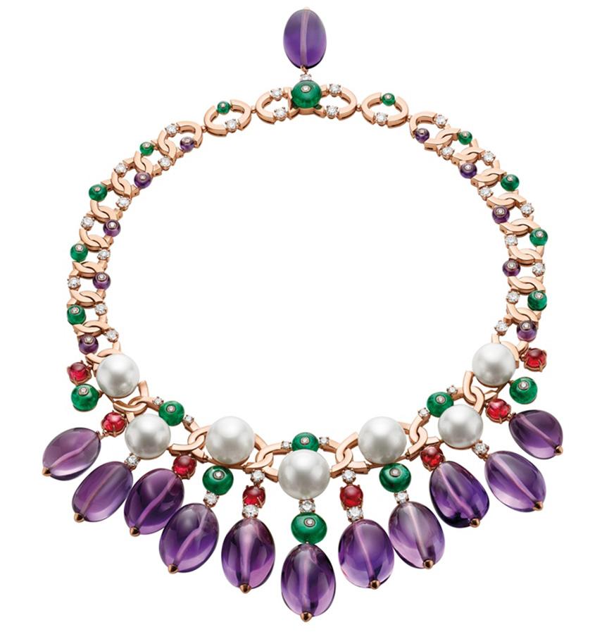 Alta gioielleria - collier di Bulgari Extravaganza HJ in oro rosacon ametiste, perle, smeraldi, spinelli e diamanti
