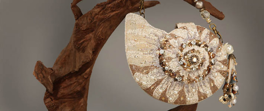 The Duckers - Mary Frances - Nautilus Shell Convertible Clutch Handbag