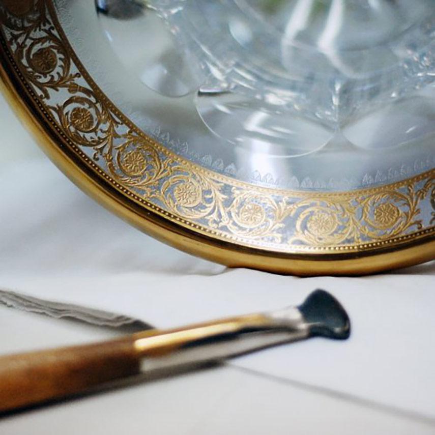 Crystal Saint Louis dettaglio bicchiere bordo oro