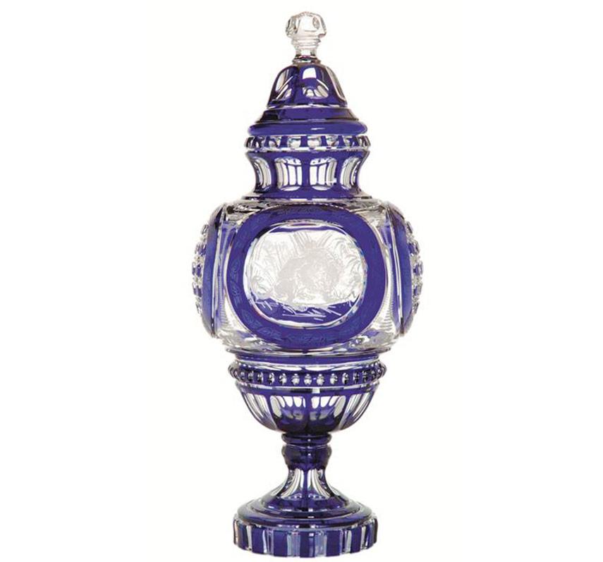 Crystal Saint Louis - vaso blu e cristallo trasparente con coperchio, interamente pantografato a mano