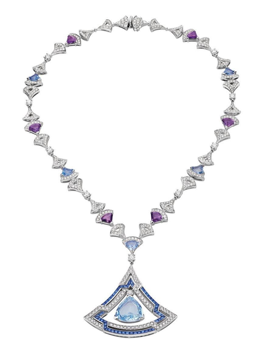 Bulgari gioielli - Collana Bulgari Divas' Dream Bellezza HJ in oro bianco con 6 acquamarine, ametiste, zaffini diamanti