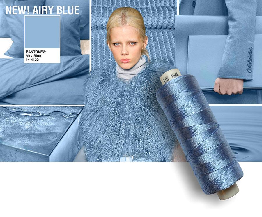colori moda 2016 - colore pantone Airy Blue - filati e modella - rocchetto cotone in primo piano