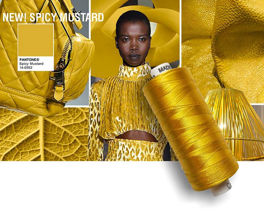 colori moda 2016 - colore pantone Spicy Mustard - filati e modella - rocchetto cotone in primo piano