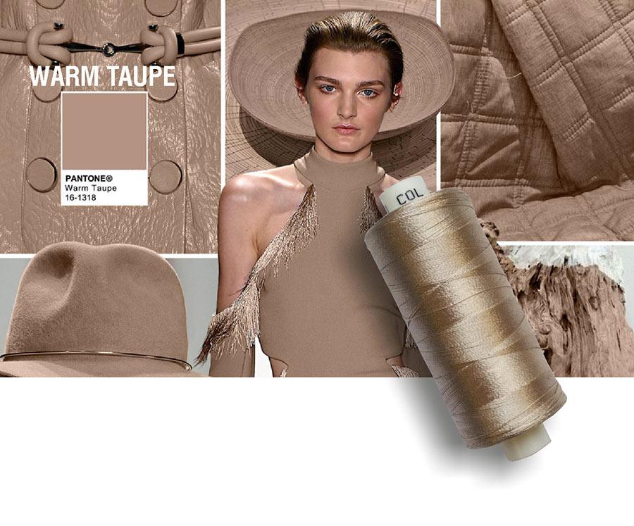 colori moda 2016 - colore pantone Warm Taupe - filati e modella - rocchetto cotone in primo piano