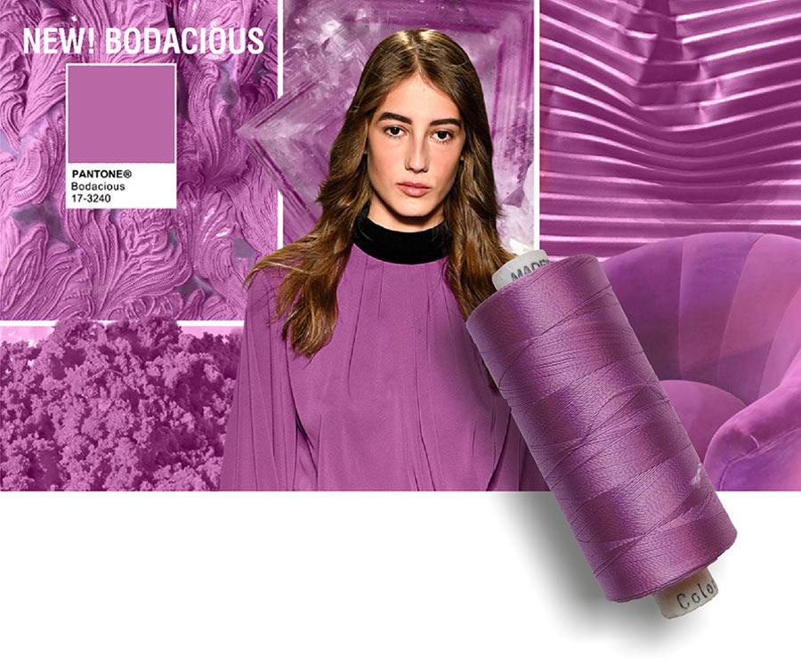 colori moda 2016 - colore pantone Bodacius - filati e modella - rocchetto cotone in primo piano