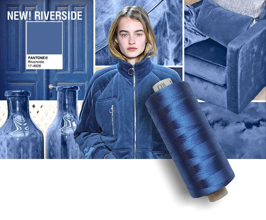colori moda 2016 - colore pantone Riverside - filati e modella - rocchetto cotone in primo piano