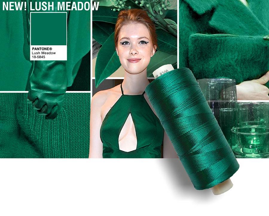 colori moda 2016 - colore pantone Lush Meadow - filati e modella - rocchetto cotone in primo piano