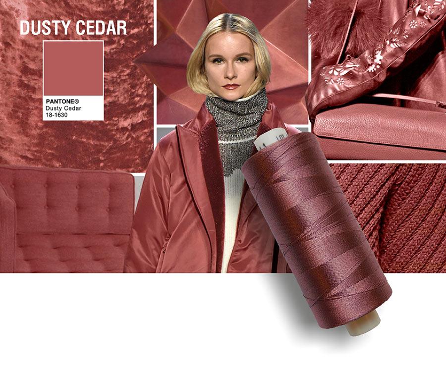 colori moda 2016 - colore pantone Dusty Cedar - filati e modella - rocchetto cotone in primo piano
