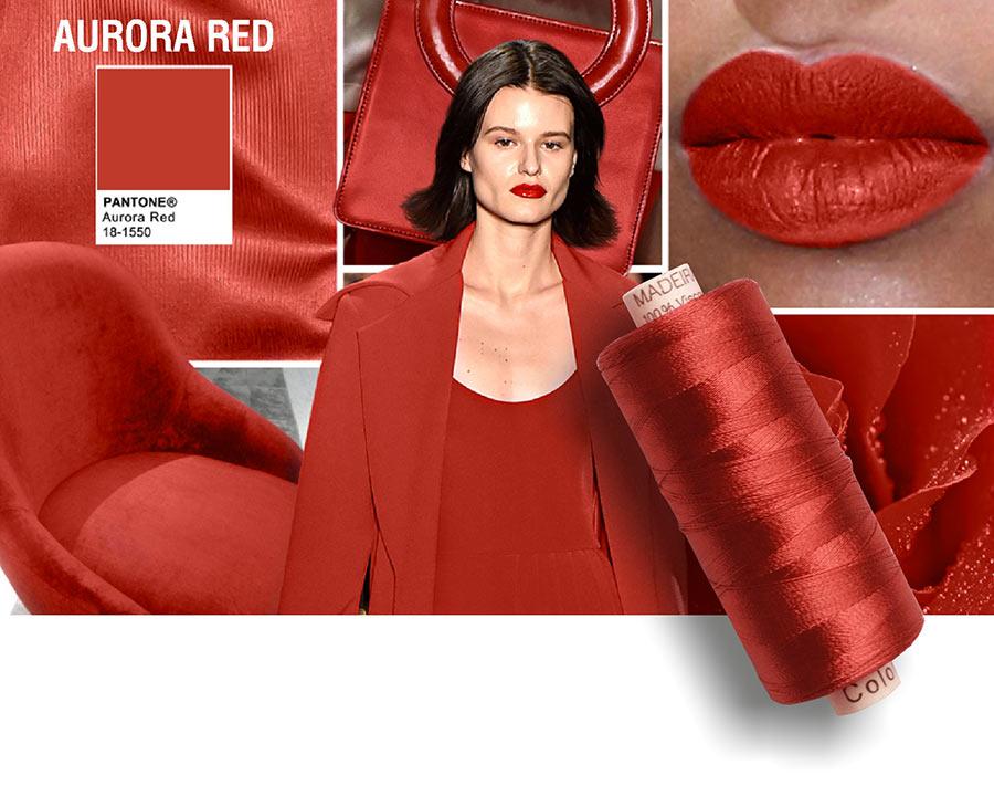 colori moda 2016 - colore pantone Aurora Red- filati e modella - rocchetto cotone in primo piano