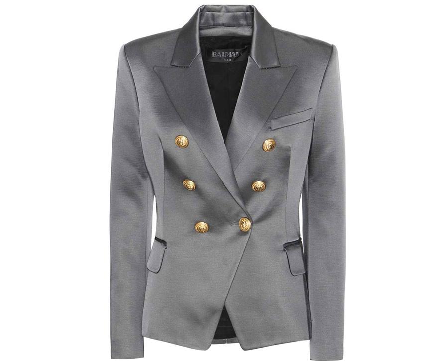 colori moda 2016 - blazer in cotone melange doppio petto sciancrata, un punto di chiusura, 6 bottoni gioiello - Balmain colore sharkskin