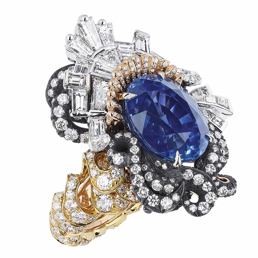 Victoire de Castellane per Dior - APPARTEMENTS DE MESDAMES ALCOVE RING, 750-1000-yellow-gold, darkened silver, 750-1000 white and pink gold, diamonds and sapphire