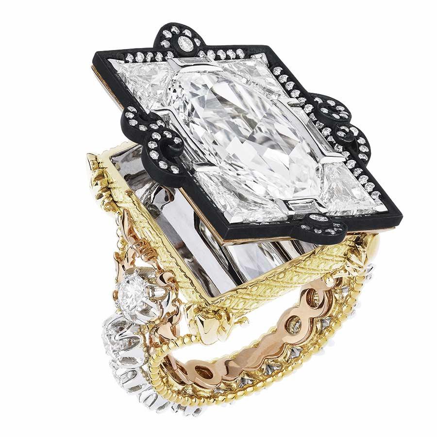 Victoire de Castellane per Dior - APPARTEMENTS DE MESDAMES - CASSETTE RING, 50_1000 yellow gold, 950_1000 platinum, 750_1000 pink-gold, darkened silver and diamonds