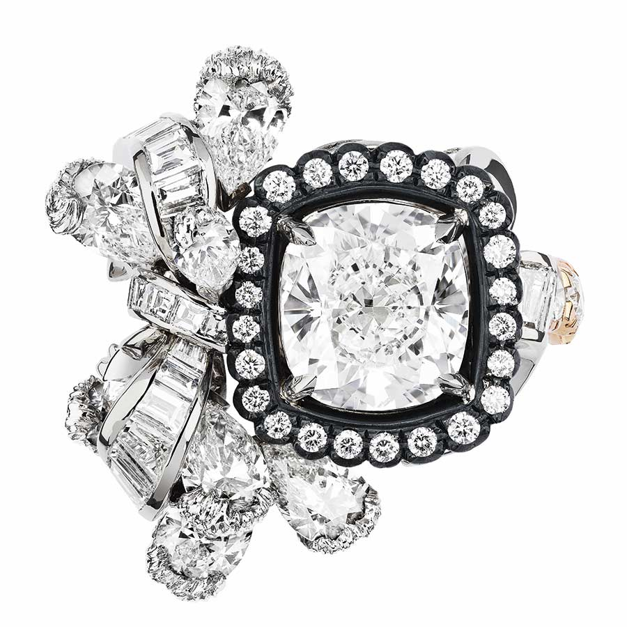 Victoire de Castellane per Dior - ACANTHE - DIAMANT RING, 750_1000 white and pink gold, darkened silver and diamonds