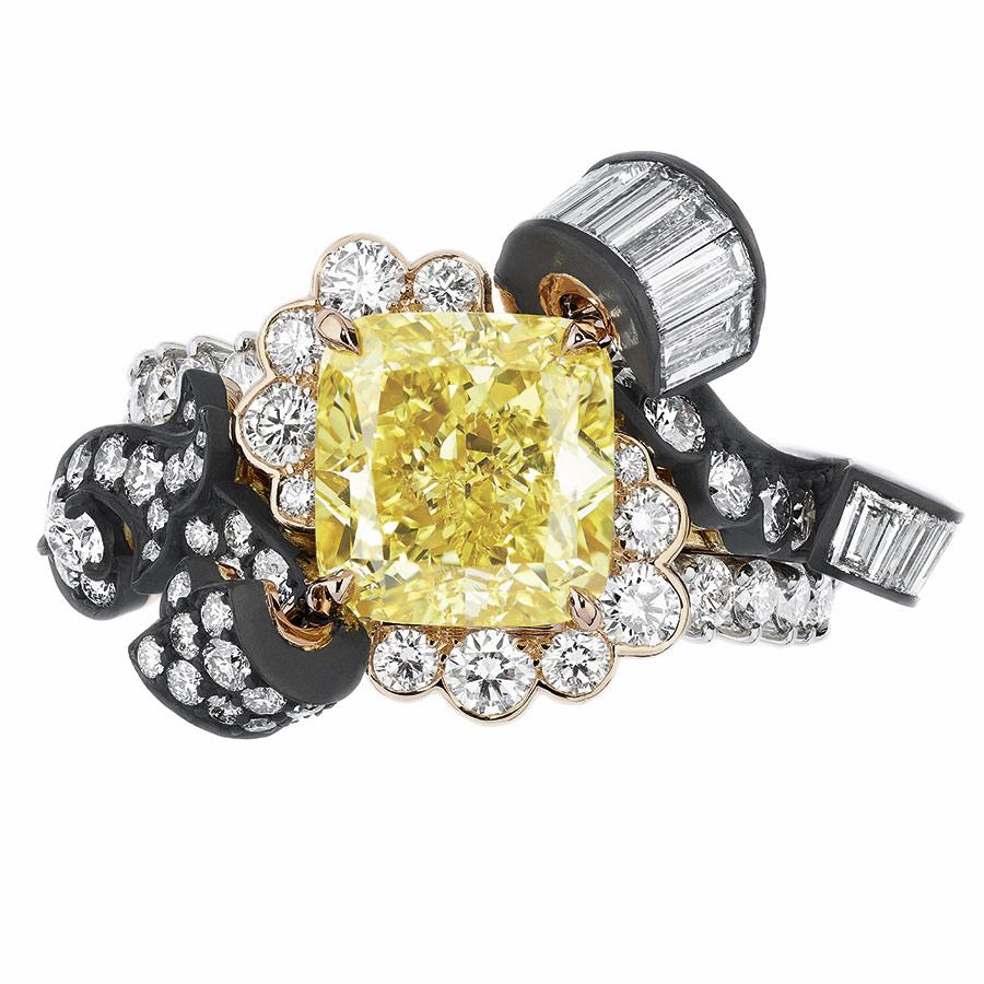 Victoire de Castellane per Dior - BOISERIE DIAMANT JAUNE RING - face