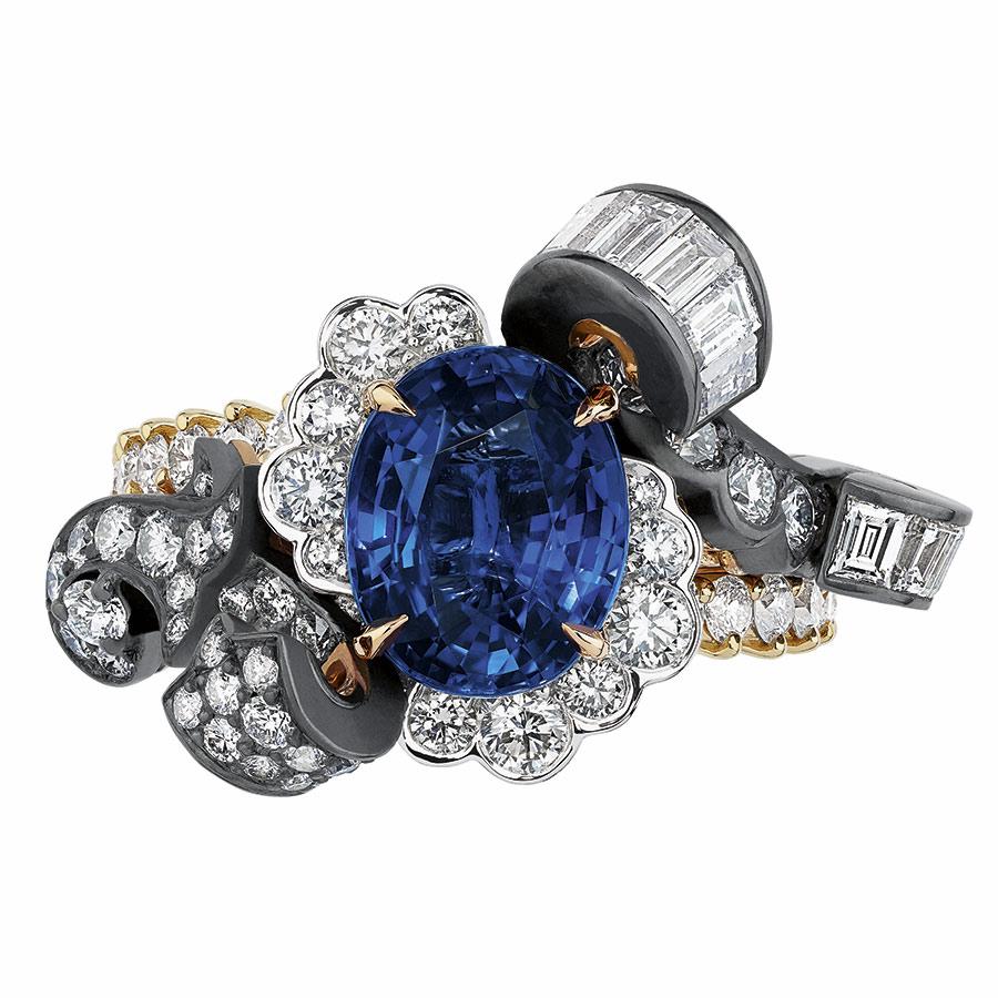 Victoire de Castellane per Dior - BOISERIE SAPHIR RING - face