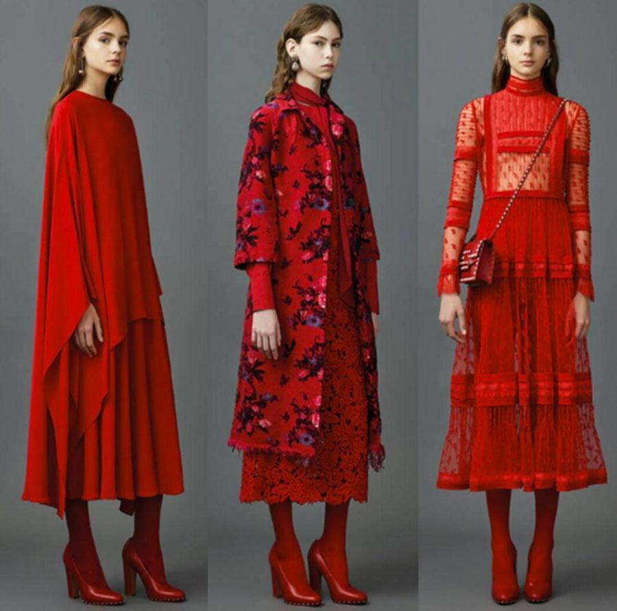 Colori moda 2016 - tre abiti valentino rossi sx mantella, cappottino fiorato, abito a balze sotto il ginocchio - Image Cortesy Valentino
