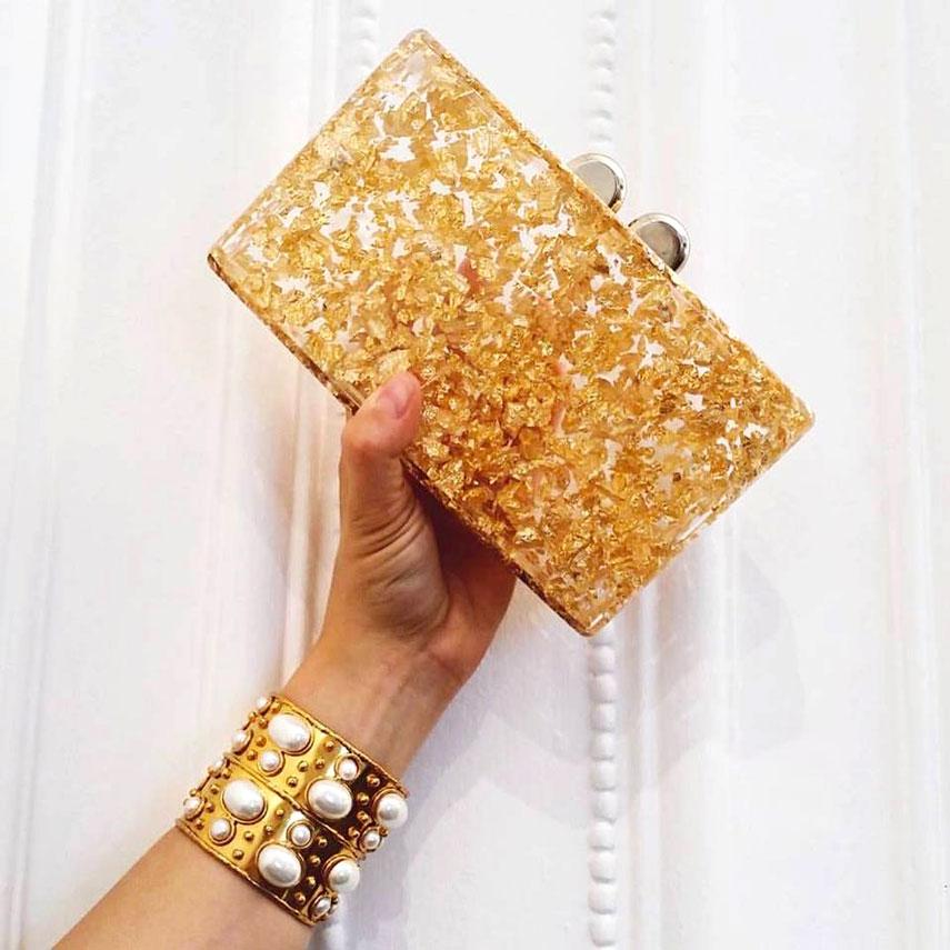 Sylvia Toledano bracciale in ottone dorato con perle bianche