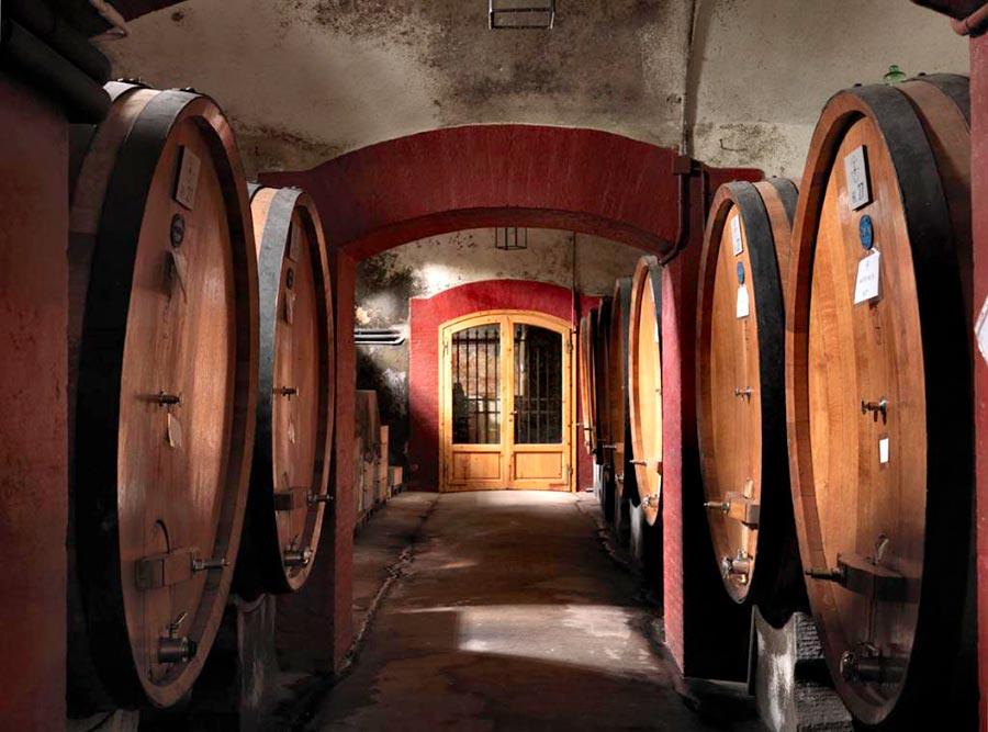 Residenze d'epoca Villa Le Corti - la cantina con le sue botti che ospita gli avventori per le degustazioni del vino e dell'olio