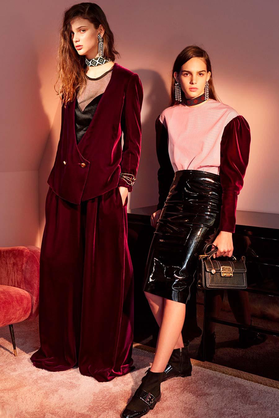 velluto - modelle in posa con abiti Lanvin