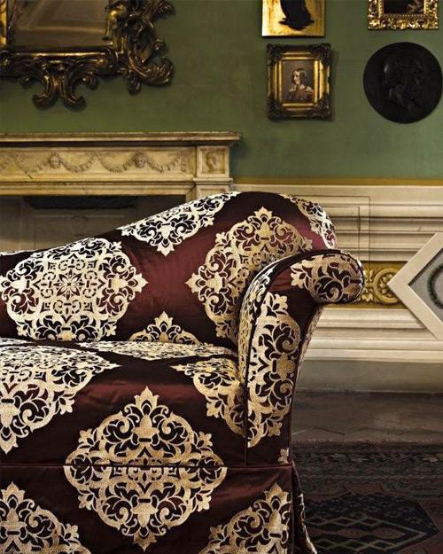 Tessuti Lisio - rivestimento damascato in seta divano