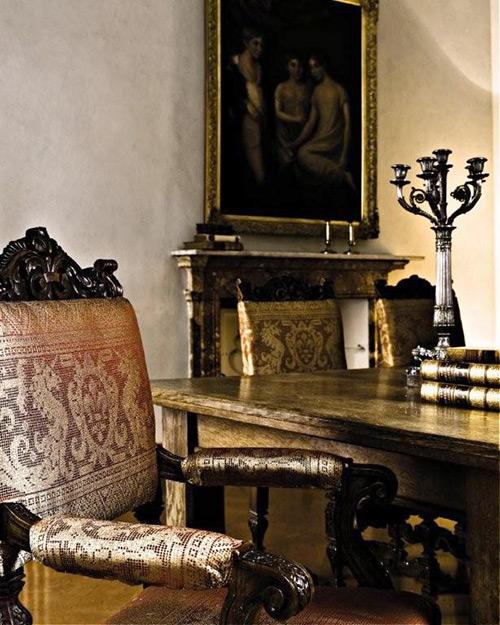 tessuti lisio - sedia in seta stile barocco