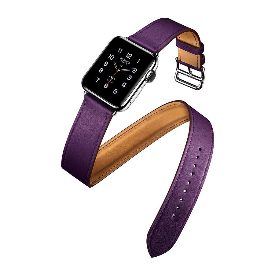 Apple Watch Hermès - DOUBLE TOUR, quadrante 38mm , Apple Watch Series 2, con cinturino in pelle Swift Anémone