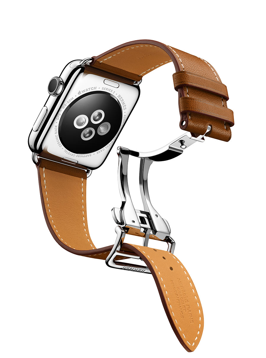 Apple Watch Hermès - SINGLE TOUR DEPLOYMENT BUCKLE quadrante 42mm , Apple Watch Series 2, cinturino in pelle Barénia fauve