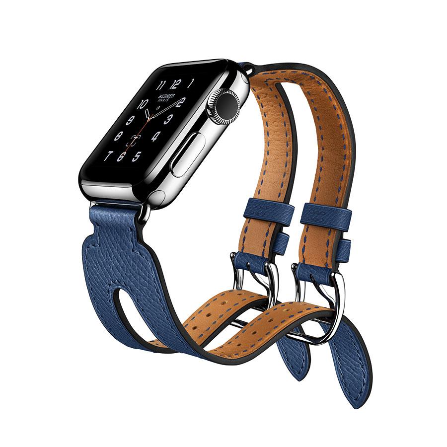 Apple Watch Hermès - Double Buckle Cuff - cinturino Bleu Agate