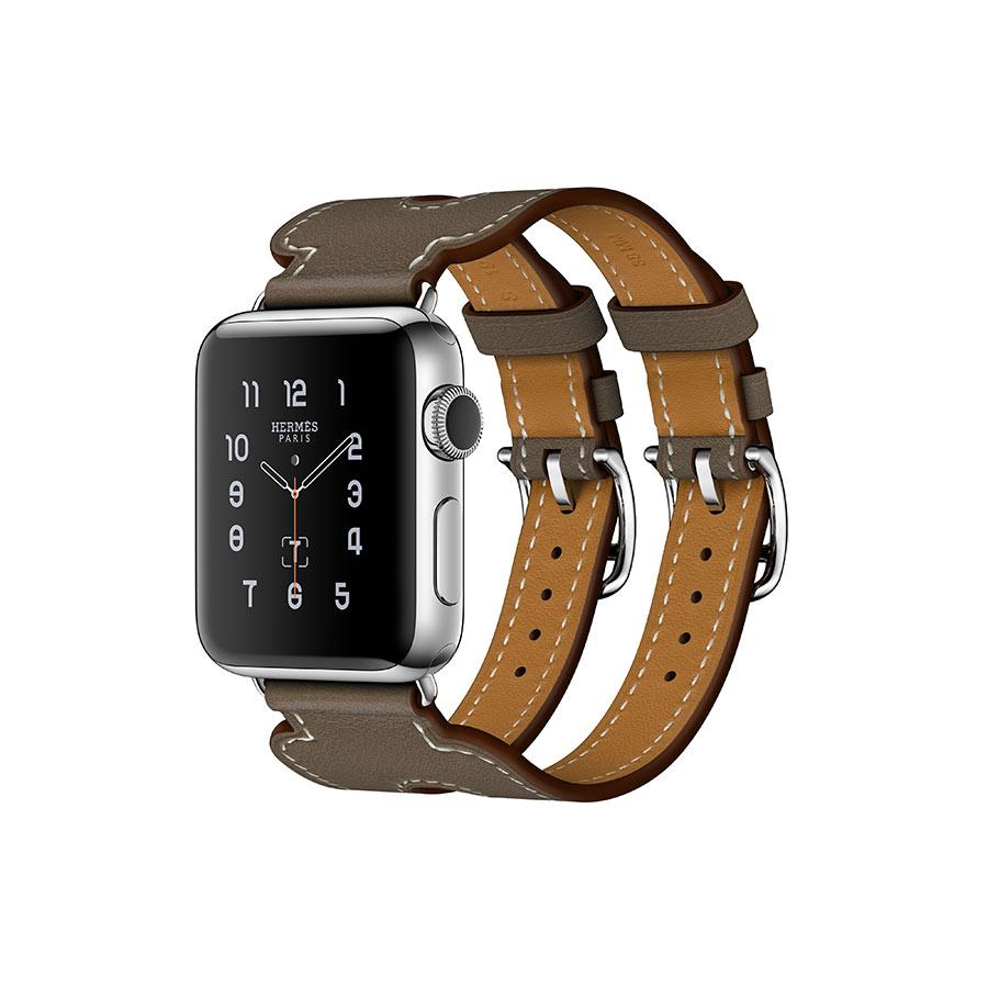 Apple Watch Hermès - Double Buckle Cuff - cinturino Étoupe vista 3/4