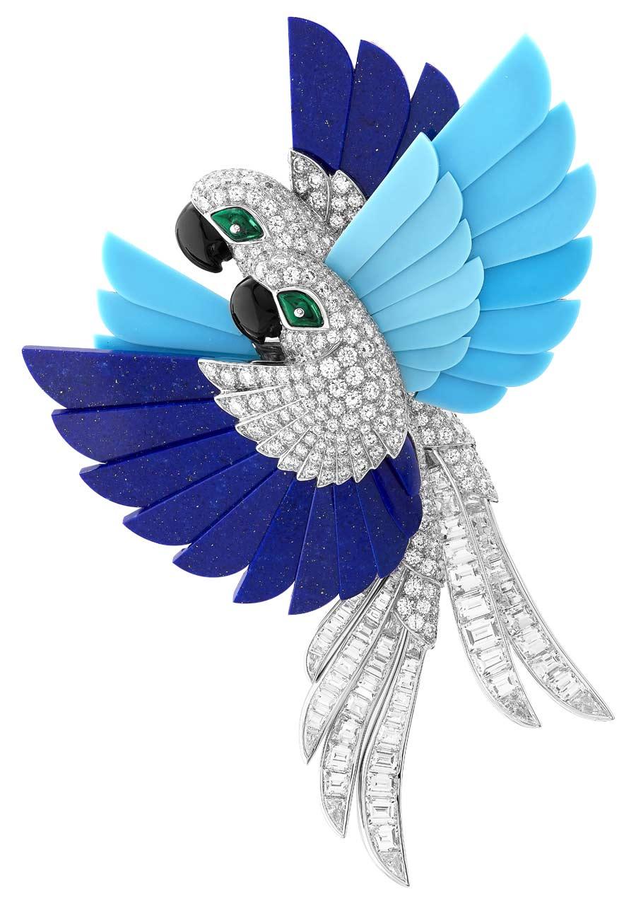 Van Cleef & Arpels - Mostra Parigi - L'Arche de Noé - soggetto pappagalli azzurri