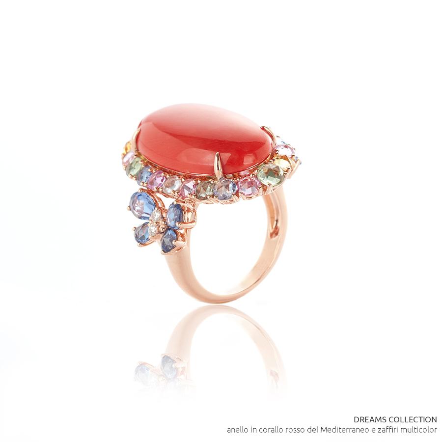 VicenzaOro - Gallery De Simone - collezione Dreams - anello in corallo rosso del Mediterraneo e zaffiri multicolor