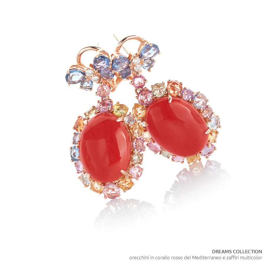 VicenzaOro - Gallery De Simone - collezione Dreams - orecchini in corallo rosso del Mediterraneo e zaffiri multicolor
