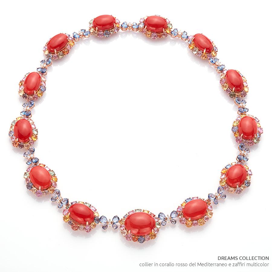 VicenzaOro - Gallery De Simone - collezione Dreams - collier in corallo rosso del Mediterraneo e zaffiri multicolor