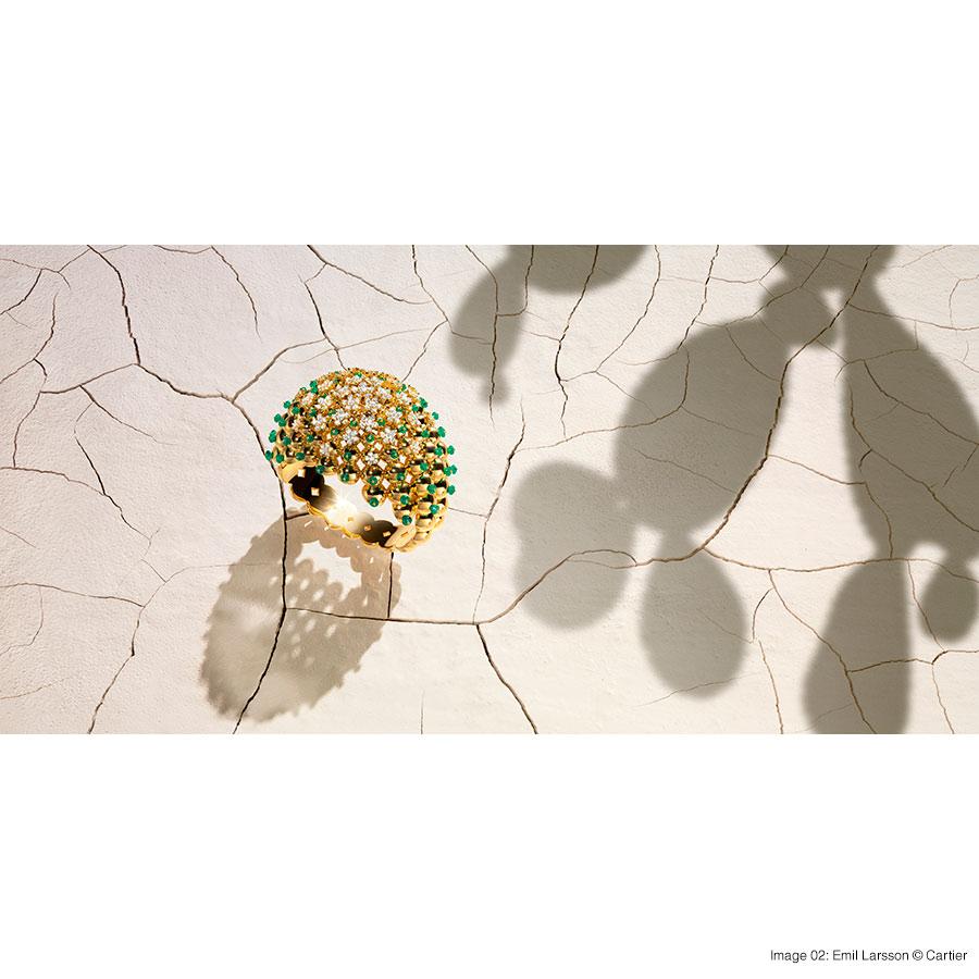 Cactus de Cartier bracelet, 18-carat yellow gold, emeralds, set with 204 brilliant-cut diamonds. Foto 02