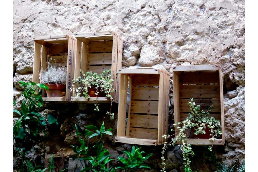 Pino Cuttaia - piante da cucina nel muro esterno