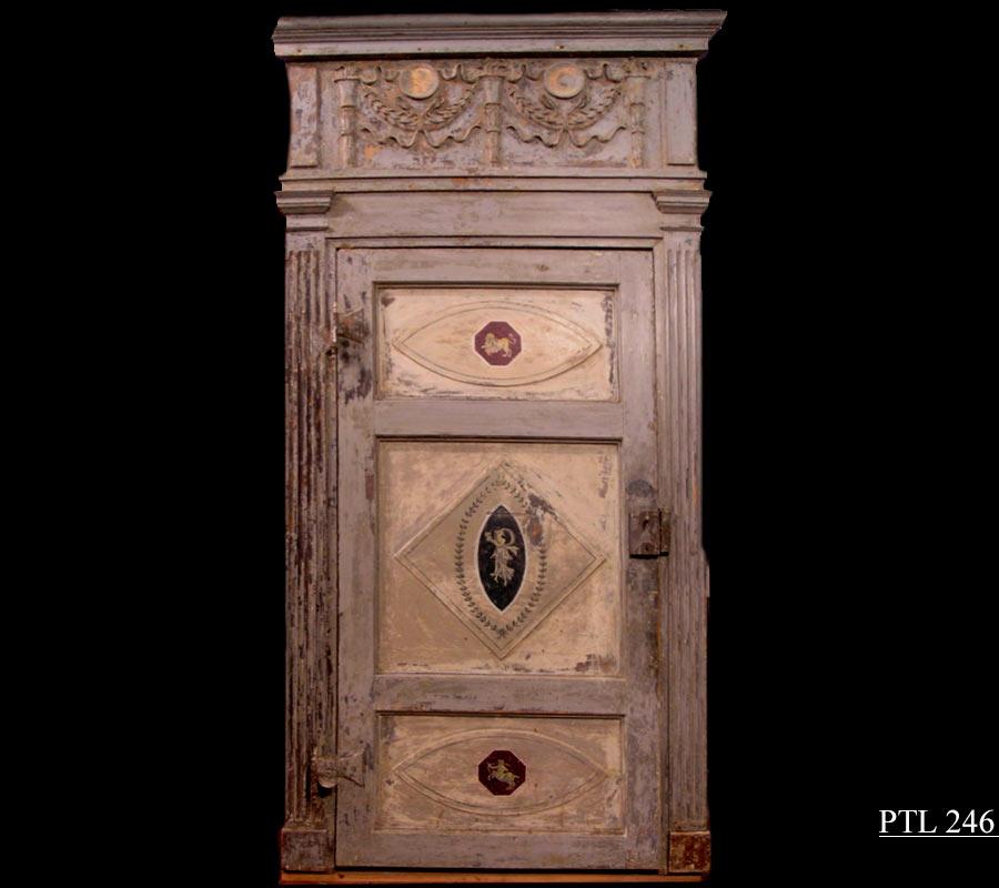 porte antiche - porta dipinta ,epoca Luigi XVI, mis.max alt. cm 286 x cm. 135