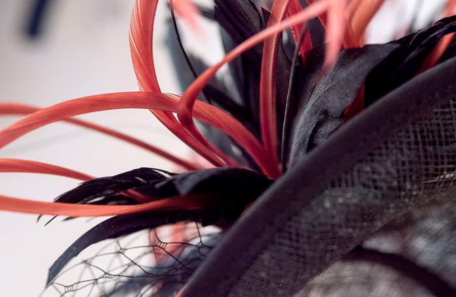 Marina Ripa Di Meana dettaglio elegante cappello rete e piume