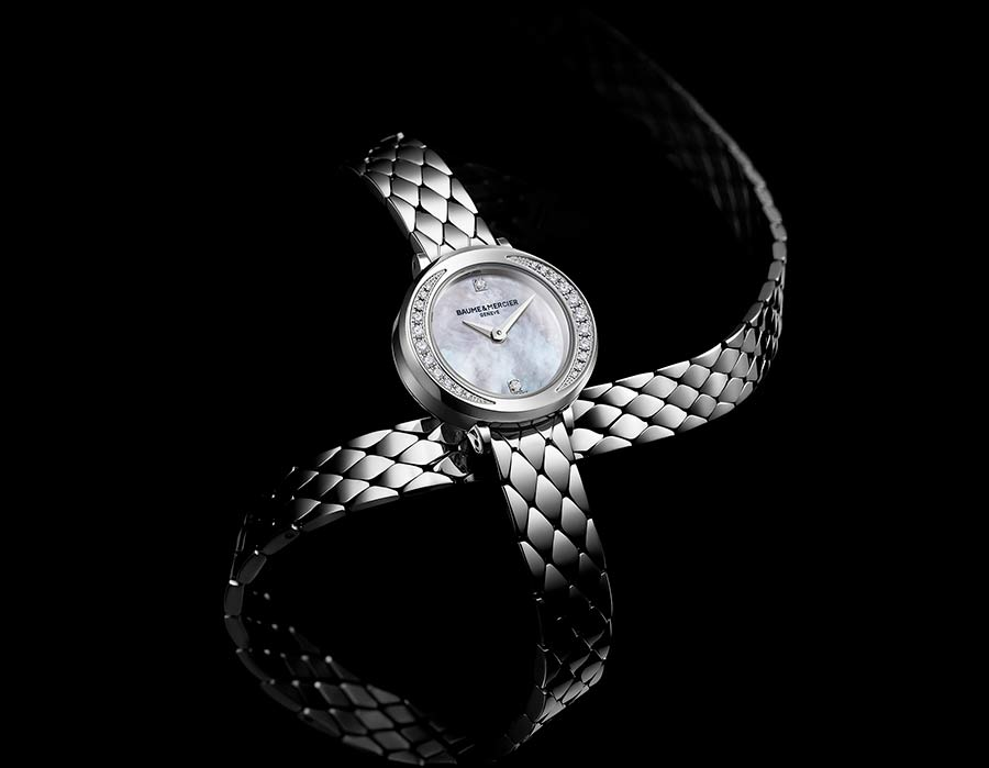 Baume et mercier orologi da donna di lusso, petite promesse 10289 cassa e cinturino doppio giro in acciaio