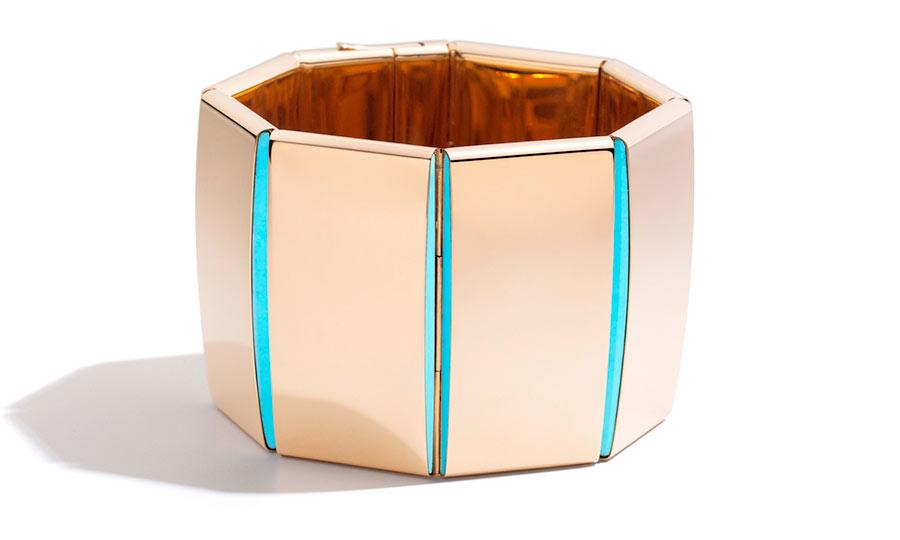 vhernier: bracciale BRIDGE in oro rosa e turchese_BRIDGE bracelet rose gold turquoise 2016