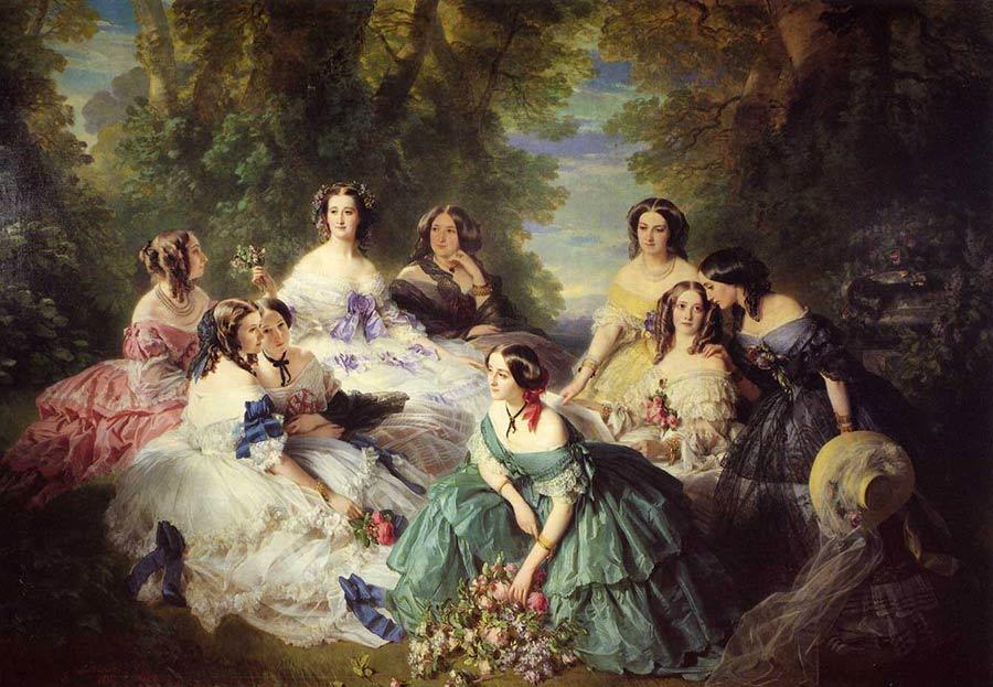 ruches quadro di Winterhalter Franz Xavier, L'imperatrice Eugenia e le dame della sua corte. 1855