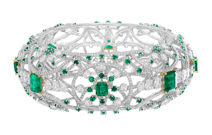 alta gioielleria bracciale columbain green emerald kada