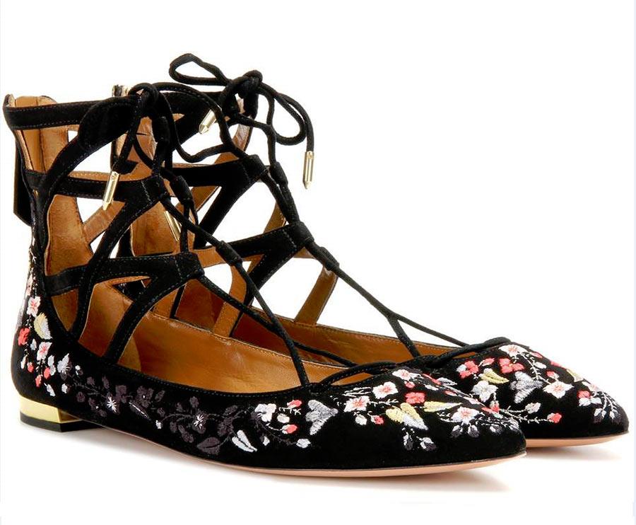 ballerine Aquazzurra nere con ricami floreali intreccio alla schiava caviglia