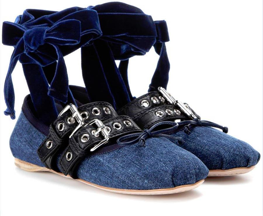 ballerine miu miu jeans passanti pelle nera fiocchi velluto blu